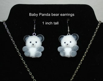 Fuzzy baby Panda  Bear Earrings and/or Necklace