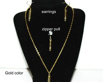22 caliber bullet ear rings, necklace or zipper pull