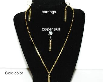 22 caliber bullet ear rings, necklace or zipper pull