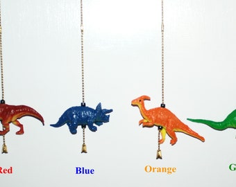 Colorful dinosaur ceiling fan chain pulls