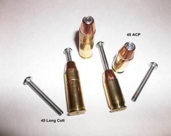 Handcrafted Pistol Bullet Cabinet Knobs or Drawer Pulls 45 Long Colt or 45 ACP