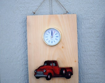 Red Truck Pine Clock-- handcrafted---1 of a kind