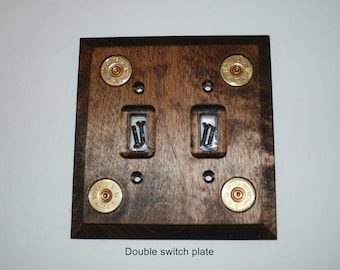 Double wooden light switch cover with bullet heads