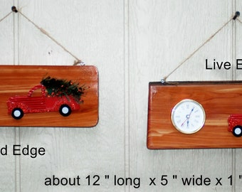 Red Truck Cedar Clock-1 of a kind -handcrafted