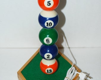 Handcrafted 9 Ball Rack Pool Ball Lamp/Design Your own