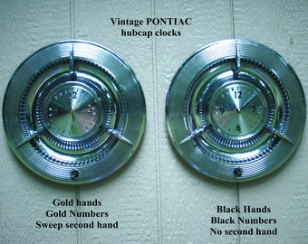 Vintage Handmade Pontiac Hubcap Clock