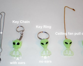 Glow in the dark Little Green Men Aliens  ceiling fan/light chain pull or necklace or key chain
