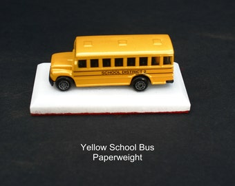 Handcrafted Yellow School Bus Paperweight or Ceiling Fan/Light chain pull