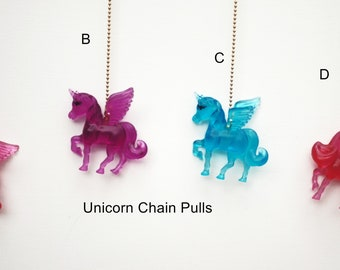 Translucent Colorful Winged Unicorn ceiling fan chain pulls