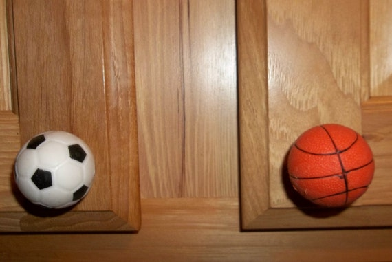 Soccer 1 pair 2 each Basketball SPORTS BALL DRAWER PULLS.Baseball Football