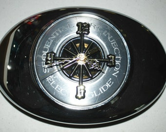 Custom Clock Up-cycled from used Harley Davidson Motorcycle Air Filter Cover... One-of-a -kind