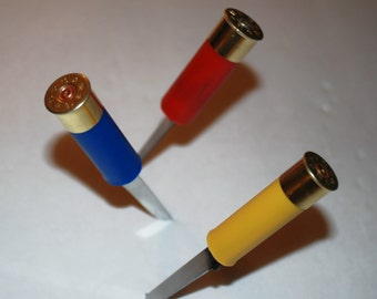Handcrafted Shotgun Shell letter Openers in 12 ga.,16 ga. and 20 ga.