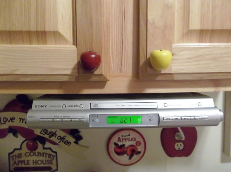 Handcrafted Wooden Apple Cabinet Knobsdrawer Pulls In Red Or Green