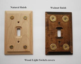 Custom wood light switch covers w/bullets