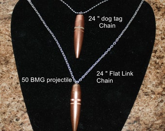 Real 50 BMG bullet/projectile necklace