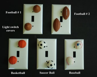 Sports ball light switch covers