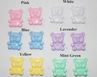 Plastic Teddy Bear stud earrings in 6 different colors