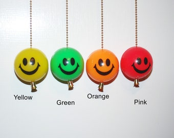 Large 2 inch Smiley Face ceiling fan chain pull