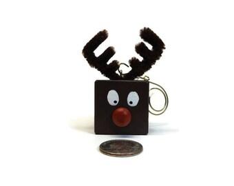 Reindeer Ornament, Christmas Tree Ornament, Reindeer Decoration, Xmas Decor, Christmas Decoration, Wood Block Reindeer, Holiday Decoration
