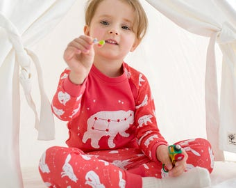 100% Cotton 2pcs 12M-7T Infant Kids Loungewear Pajama Sleepwear Set Pink bear