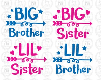 Big Brother, big sister, Little brother, Little sister digital files, ai, eps, SVG, DXF, studio3 vector files instant download