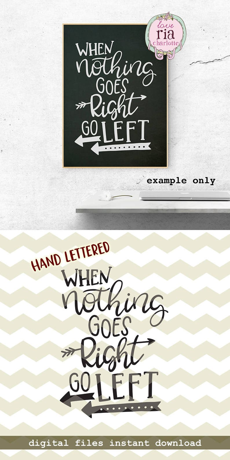 d3ee5cced When nothing goes right go left fun funny quirky quote | Etsy