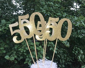 50th Birthday Centerpiece Sticks Glitter Decoration Table Decorations Age Cutouts