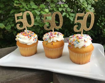 50th Birthday Cupcake Toppers 12 Ct Glitter Decoration Table Decorations Age Cutouts
