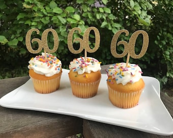 60th Birthday Cupcake Toppers 12 Ct Glitter Decoration Table Decorations Age Cutouts