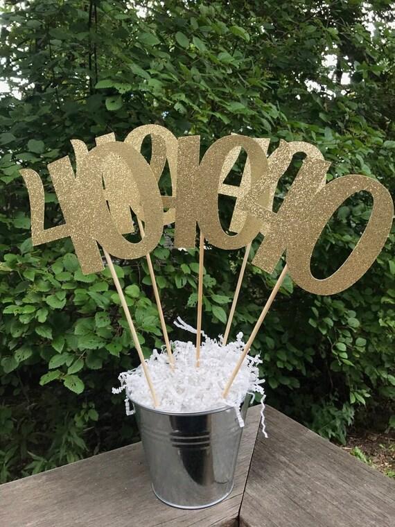40th Birthday Centerpiece Sticks Glitter