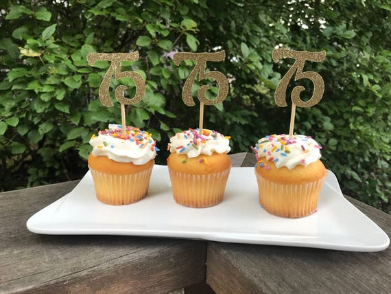 75th Birthday Cupcake Toppers 12 Ct Glitter