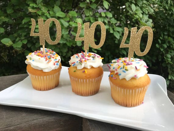 40th Birthday Cupcake Toppers 12 Ct Glitter
