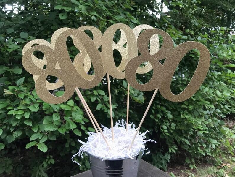 80th Birthday Centerpiece Sticks Glitter