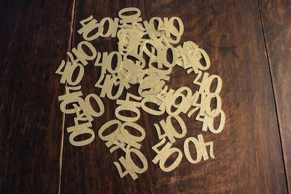 50 Count 40th Birthday Confetti Gold Black Or Silver Glitter