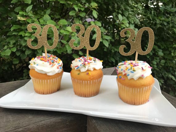 30th Birthday Cupcake Toppers 12 Ct Glitter