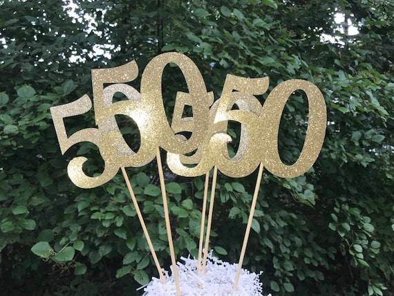 50th Birthday Centerpiece Sticks Glitter