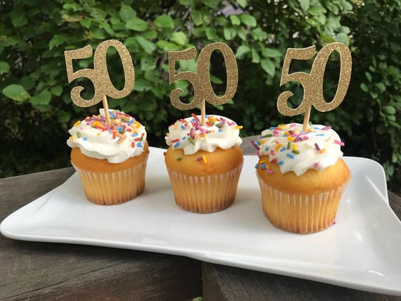 50th Birthday Cupcake Toppers 12 Ct Glitter