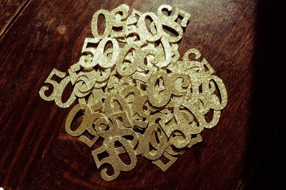 50 Count 50th Birthday Confetti Gold Black Or Silver Glitter