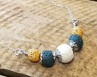Sterling silver lava bead diffuser necklace, Lava bead essential oil necklaces, Aromatherapy necklacs w/ 2ml bottle of essential oils