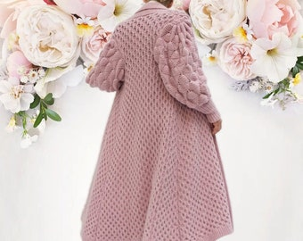 knitted cardigan with balloon sleeve ,gift ideas , cover up,winter dress, sweater, long coat