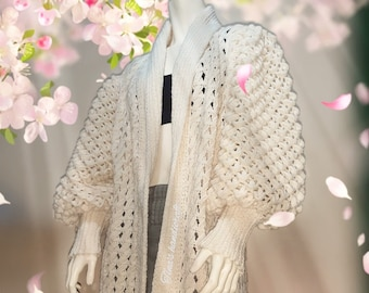 Crochet Cardigan with balloon sleeve ,gift ideas , cover up,winter dress, sweater, long coat