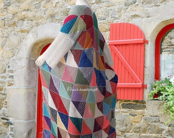long crochet cardigan, gift ideas, bo ho style, multicolored coat, cotton-lurex,