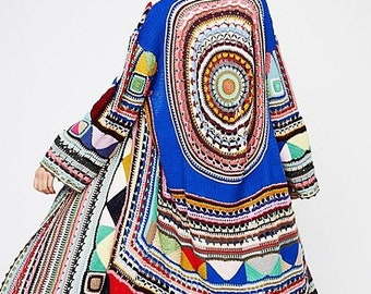 knitting coat ,long cardigan with mandala,warm dress,cozy dress,winter clothing ,gift ideas,handmade item,cover up