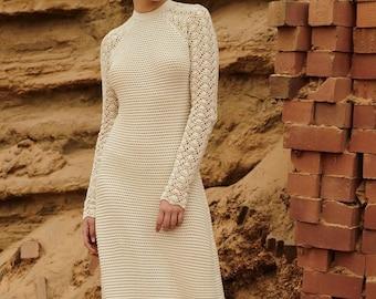 wedding dress,long crochet dress,bridal , long-sleeve, summer clothing,gift ideas, handmade item , beach dress,