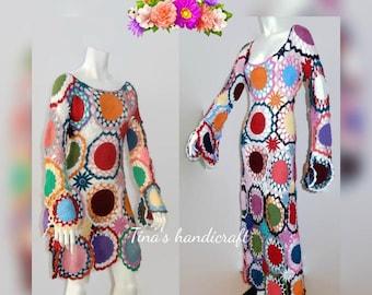 crochet dress with mandala motifs ,summer clothing,gift ideas,colorful dress,beach clothing,cozy dress,