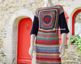 hippie crochet dress,boho clothing,gypsy dress,vintage,gift ideas,summer dress,beach handmade
