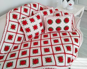 crochet blanket granny squares motif's with flower's & cushion's ,gift ideas,