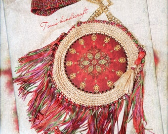 Bo ho crochet bag with fringes, Gypsy styles,gift ideas,wedding accessory, 4 season's bags, multicolour