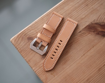 """Natural Vegetable-tanned Leather """"Heritage"""" Watch Strap for Panerai (24 & 26 mm)"""