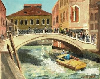 A hot afternoon near the Rialto Venice! An original plein air oil painting, Unframed, lovely gift!